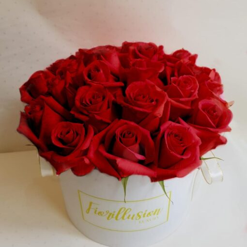 Flower Box rose rosse scatola bianca