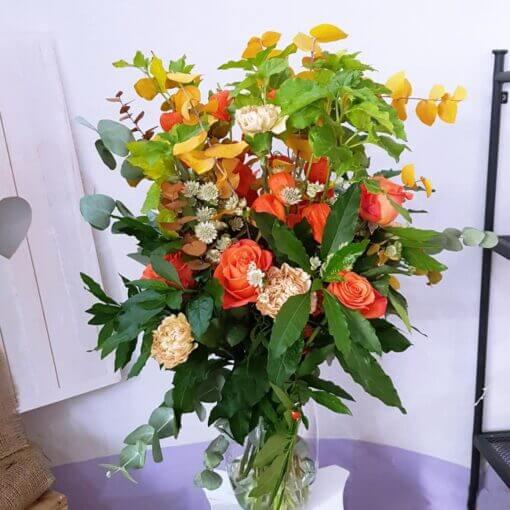 Spoleto bouquet di Rose arancio e Alchechengi